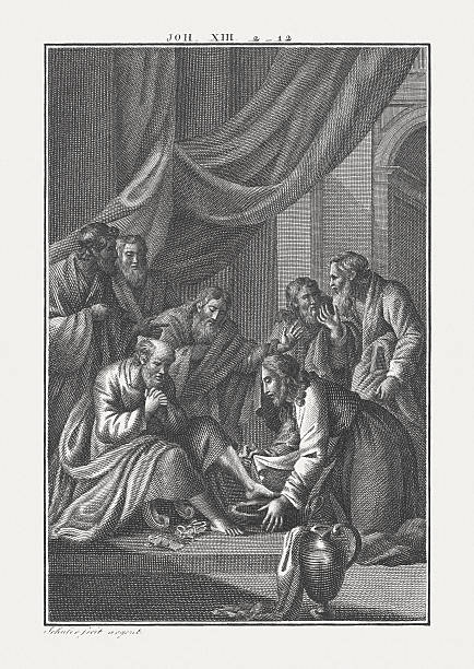 Jesus Washes His Disciples' Feet (John 13), published c. 1850 – Foto