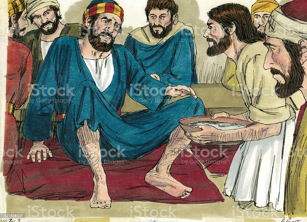 Jesus Washes Peter's Feet royalty-free stock photo