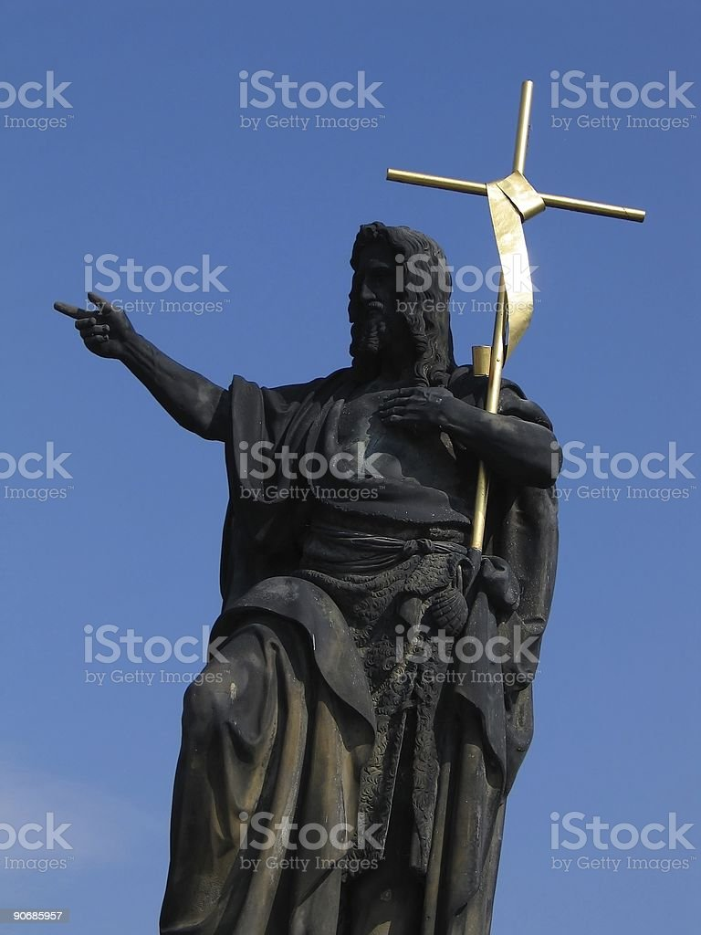 Jesus with golden cross royalty-free stock photo