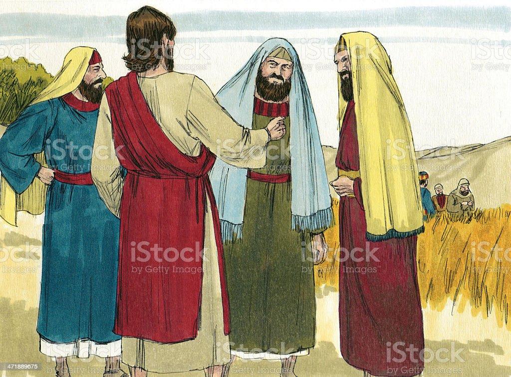 Jesus with Leaders stock photo