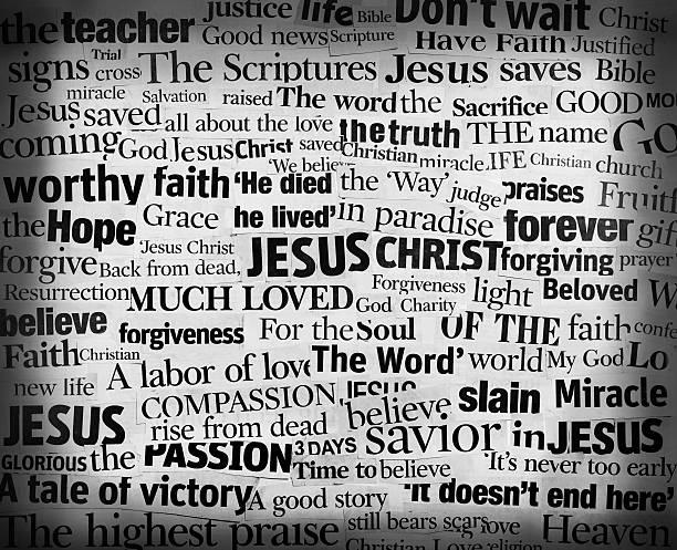 Jesus Words Headline Collage stock photo