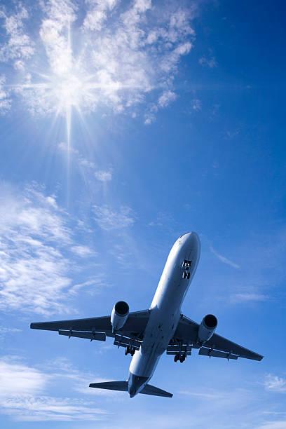 Jet Aeroplane in Bright Summer Sky Vertical stock photo