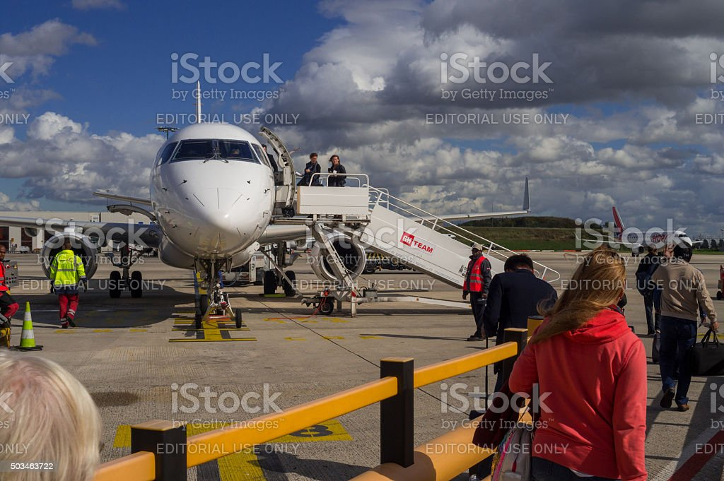 Jet Aircraft before departure in Paris Airport stock photo