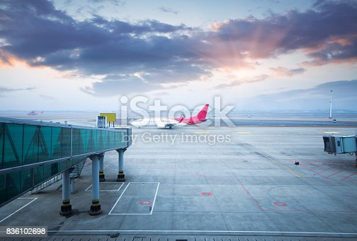 istock Jet aircraft docked in Dubai International Airport 836102698