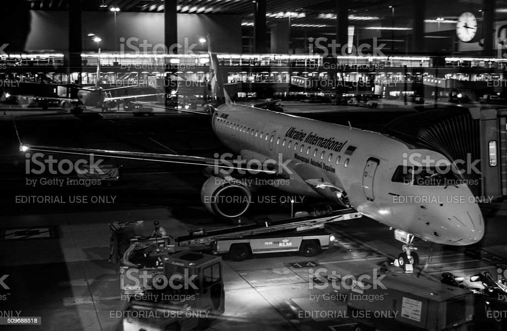 Jet Aircraft Maintenance in Amsterdam Schiphol Airport stock photo