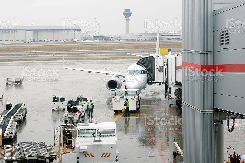 XXL jet airplane at airport stock photo