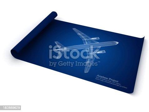 istock Jet Airplane Blueprint 182889629