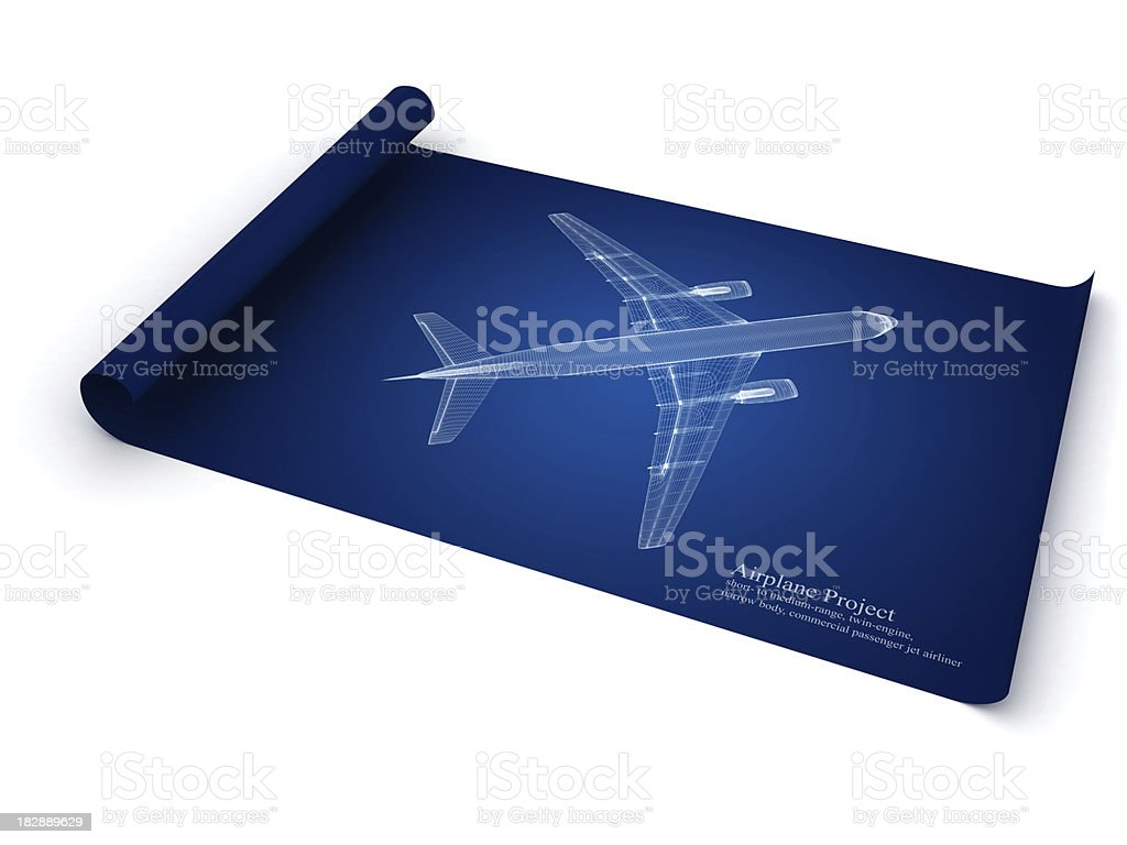 Jet Airplane Blueprint stock photo