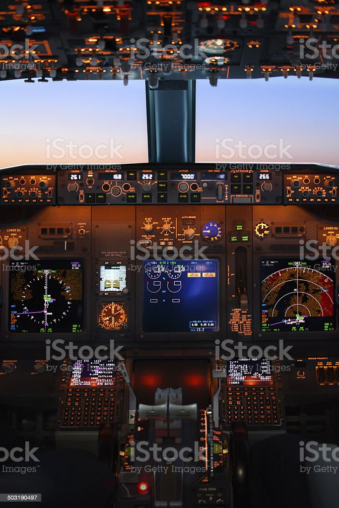 Jet airplane cockpit stock photo