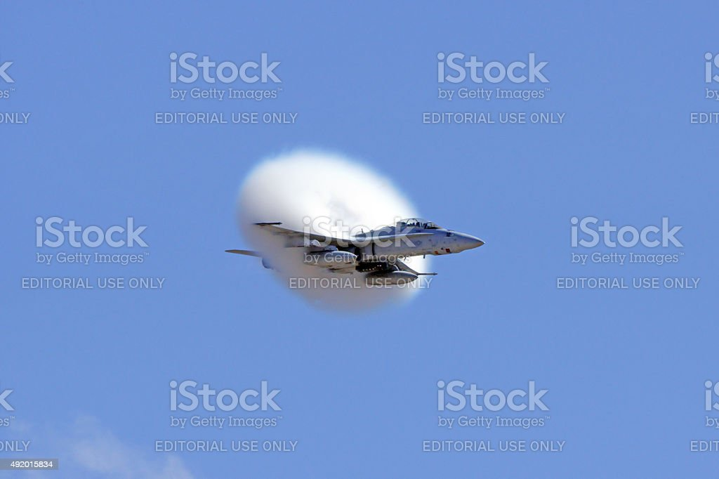 Jet Airplane F18 Hornet Breaking Speed Of Sound Stock Photo