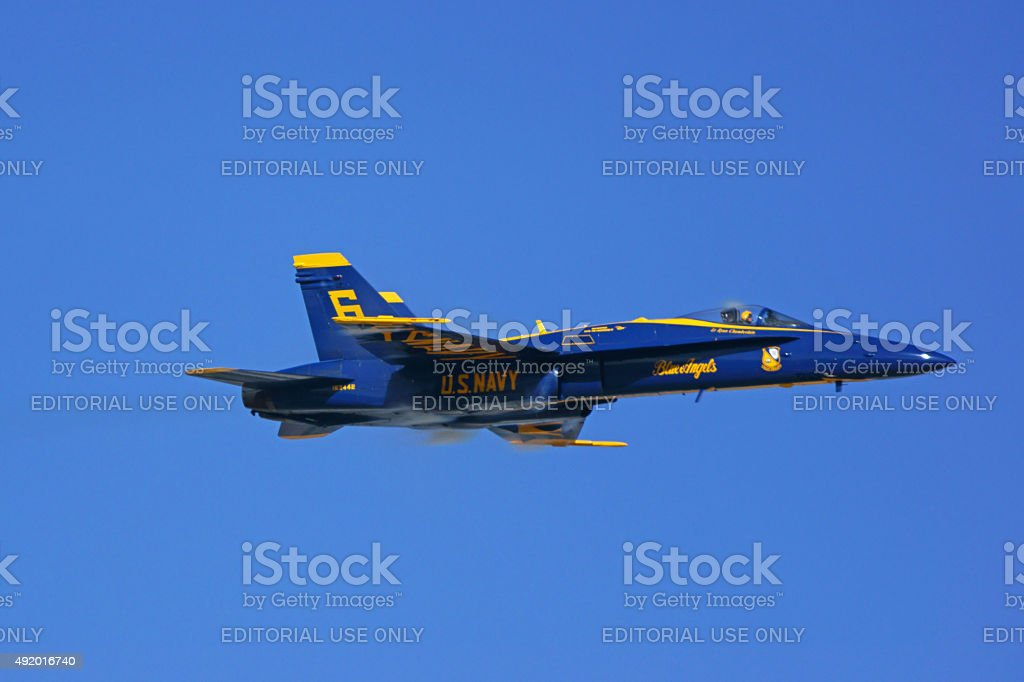 Jet airplane F-18 Hornet of the Blue Angels stock photo