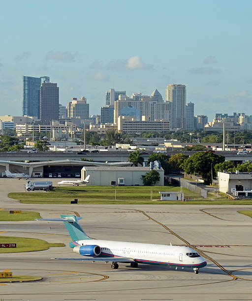 Jet airplane in Fort Lauderdale stock photo