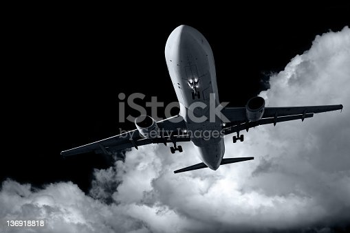 jet airplane landing at night with storm cloud (XL)