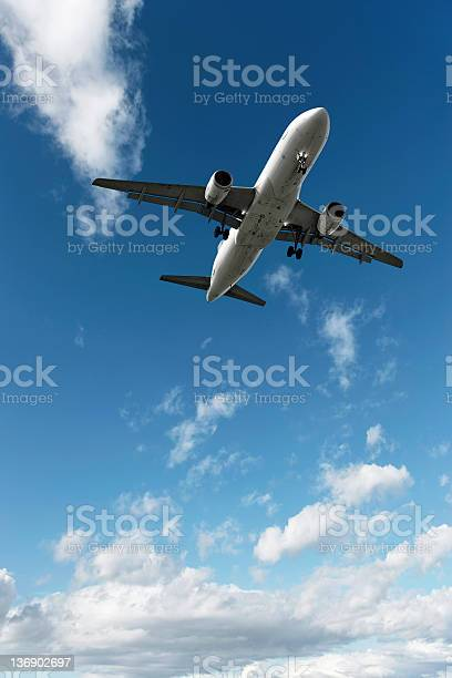 Photo of jet airplane landing in bright sky