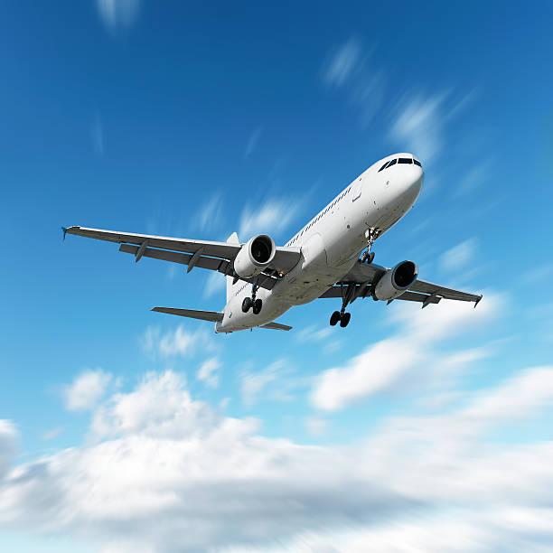 XL jet Passagierflugzeug Landung in motion blur sky – Foto