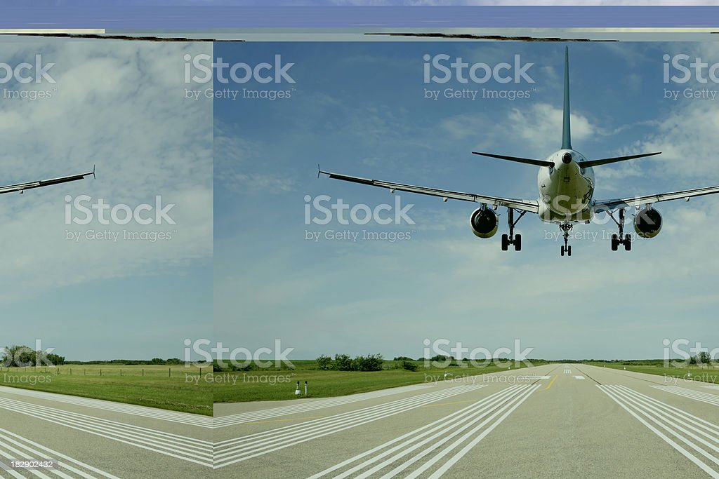 XXL jet airplane landing on runway stock photo