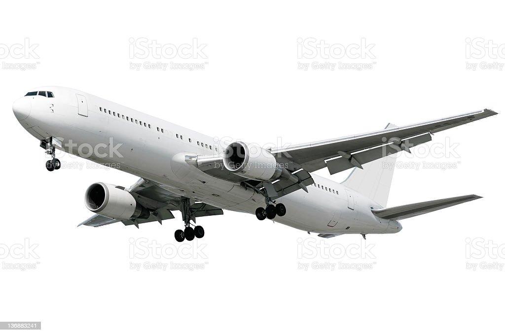 XXL jet airplane landing on white background royalty-free stock photo