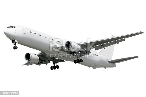 jet airplane landing, isolated on white (XXL)