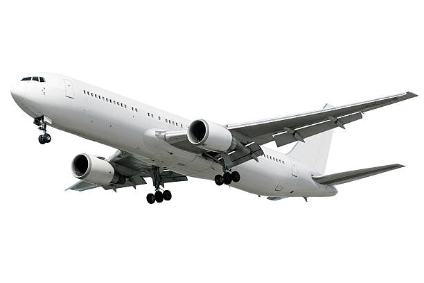 XXL jet airplane landing on white background stock photo