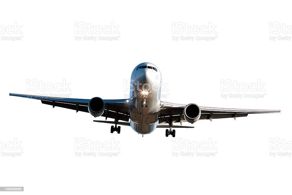 jet airplane landing on white background stock photo