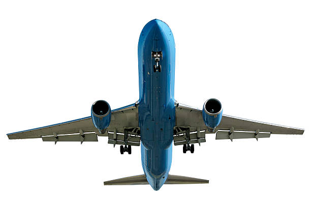 jet airplane landing on white background stock photo