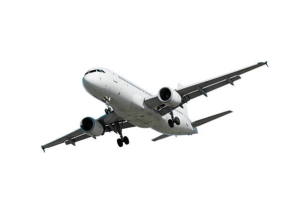 XL jet airplane landing on white background stock photo