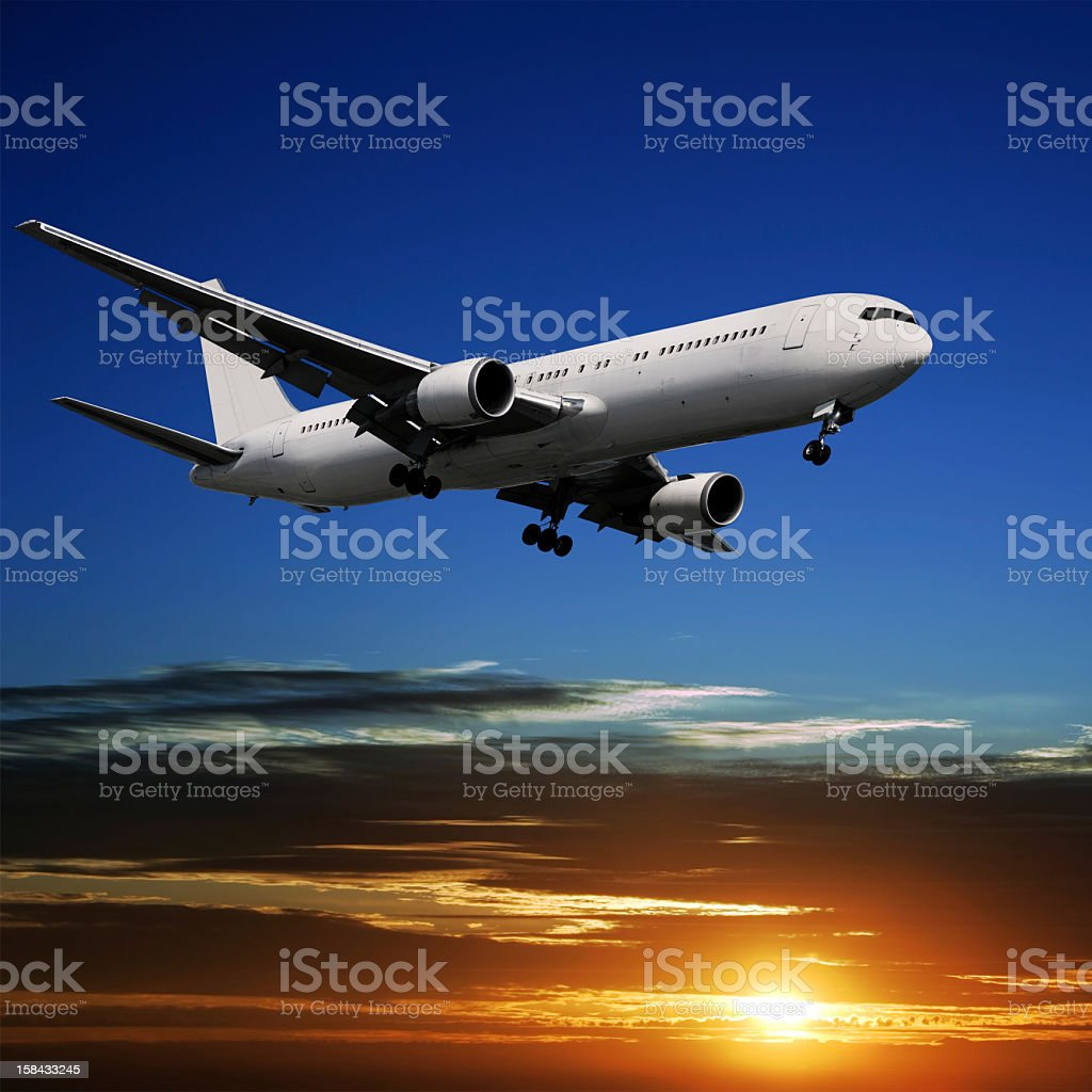 XL jet airplane landing stock photo