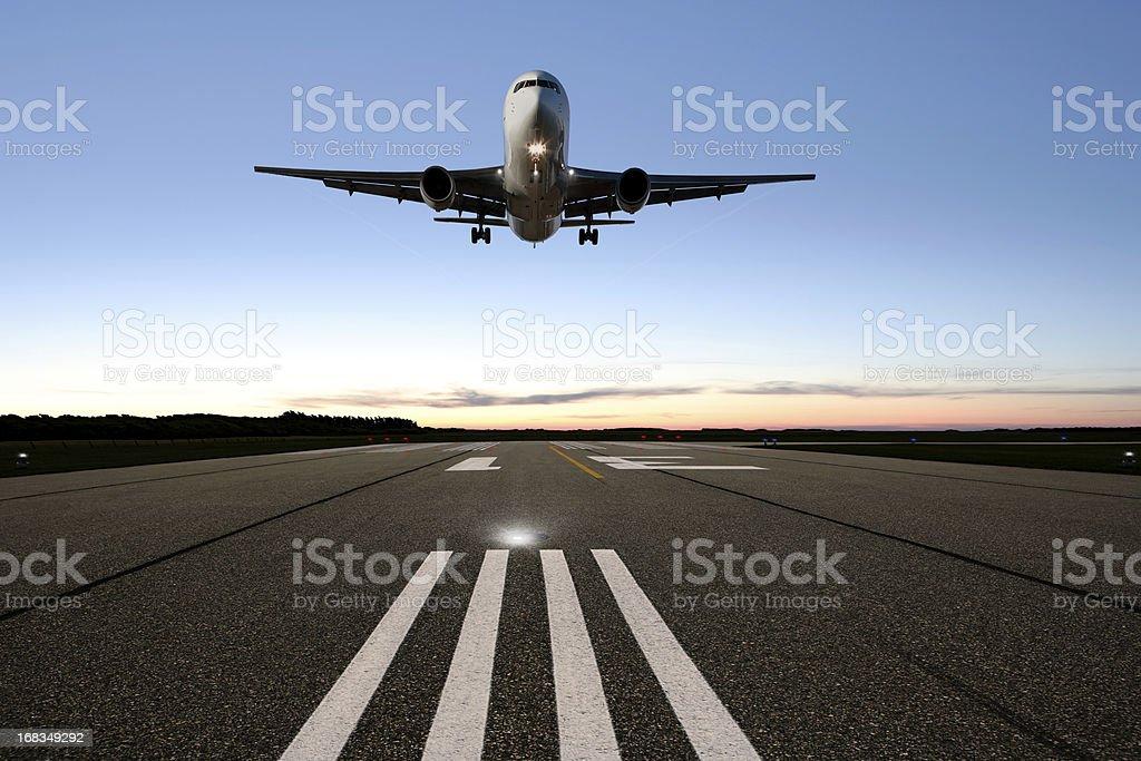 XXL jet airplane landing stock photo