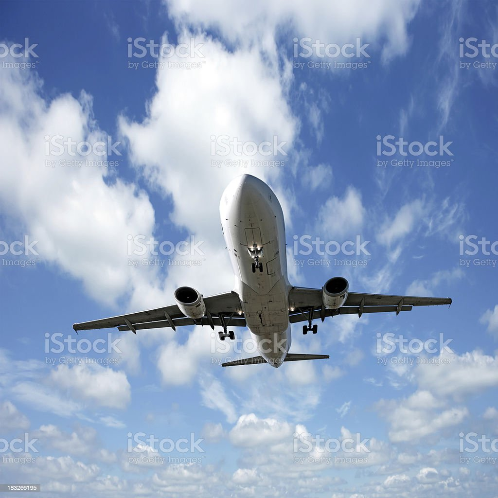 XXL jet airplane landing stock photo