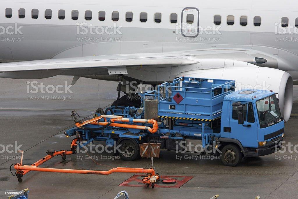 jet airplane refueling stock photo