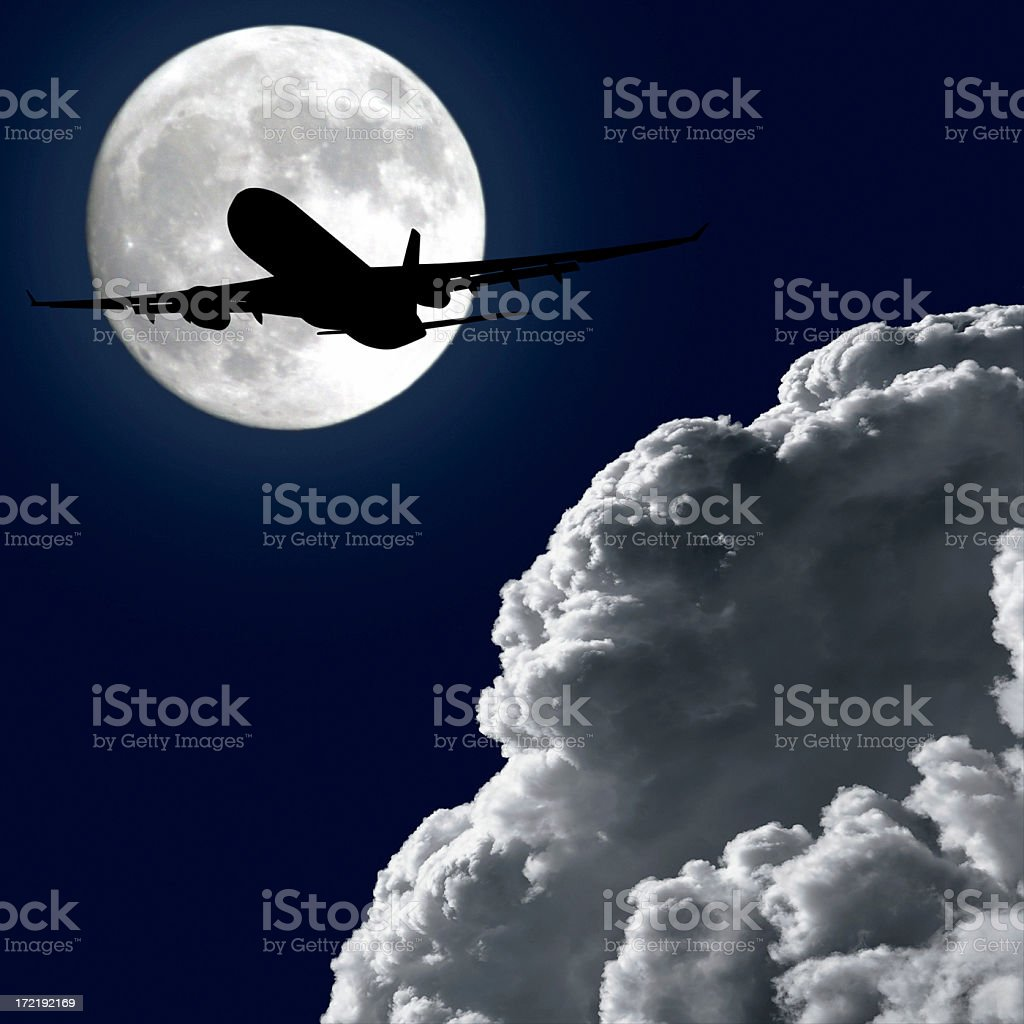 jet airplane taking off at night royalty-free stock photo