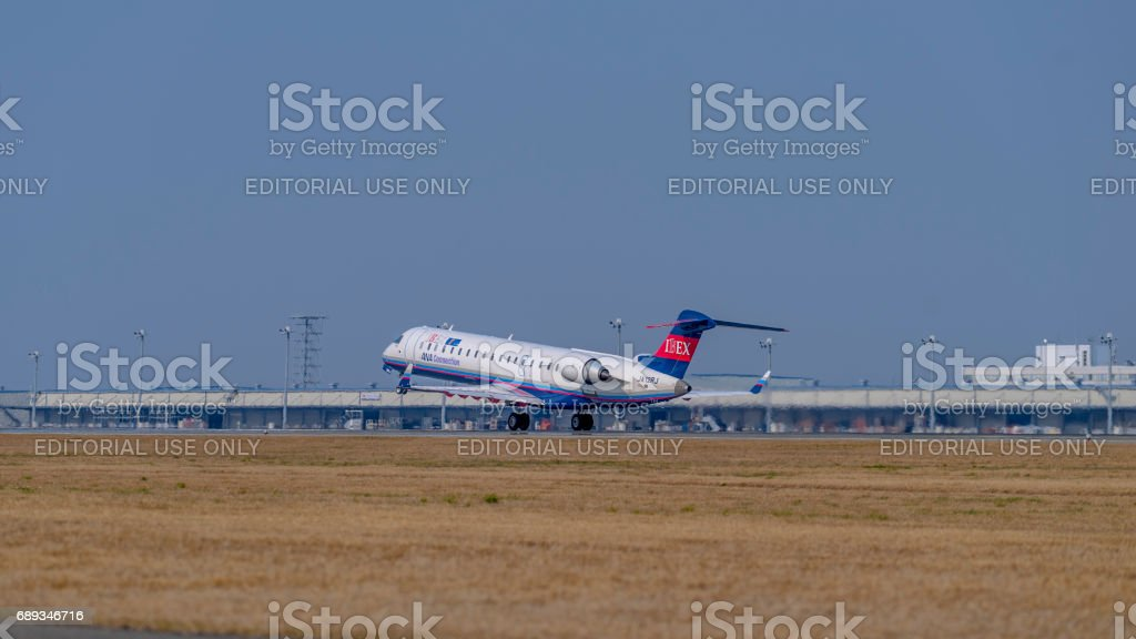 Jet airplane taking off from the Centrair Airport stock photo