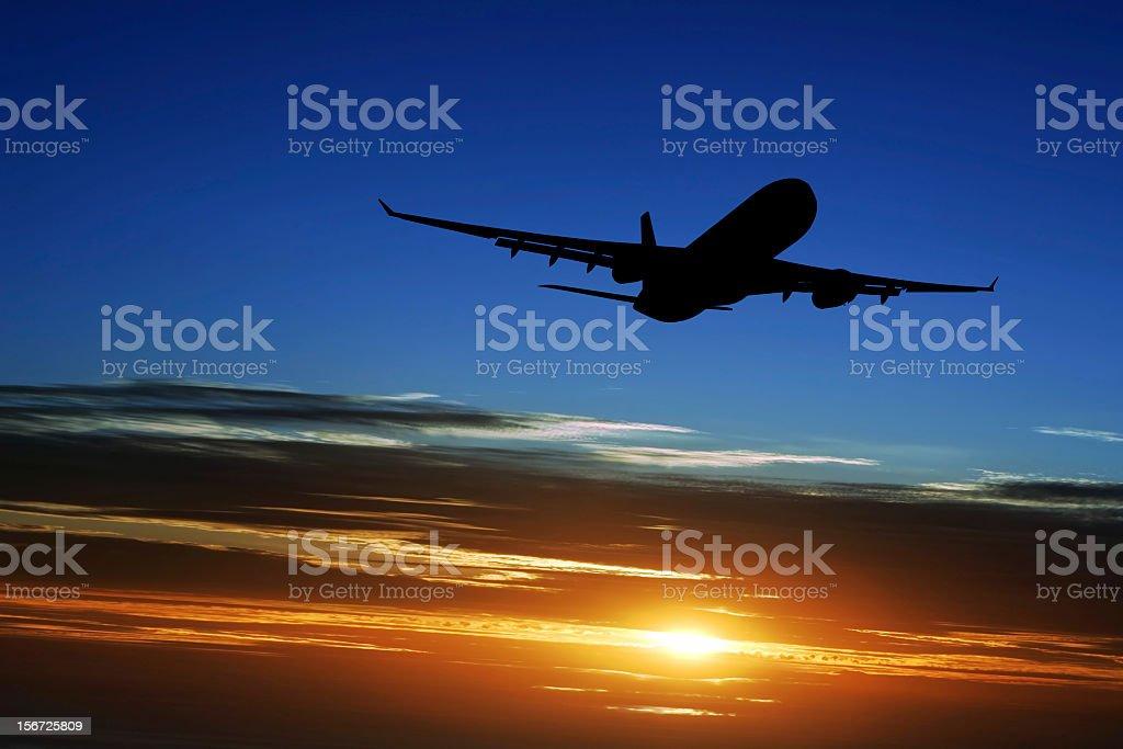 XXL jet airplane taking off stock photo