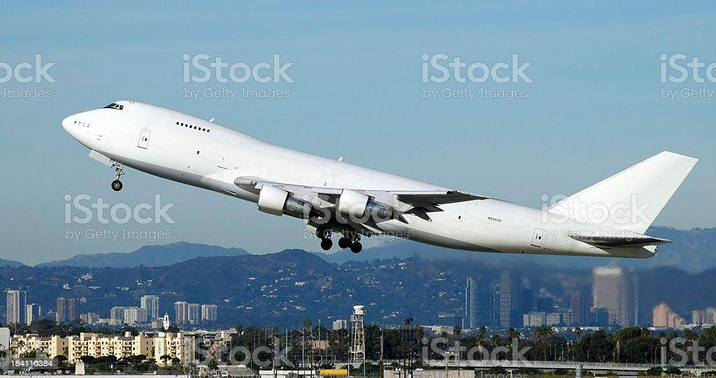 Jet airplane taking off stock photo