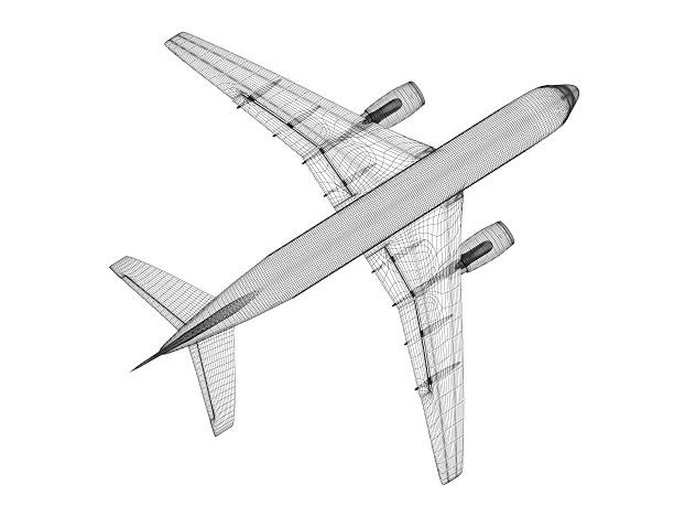 Jet Airplane Wireframe stock photo