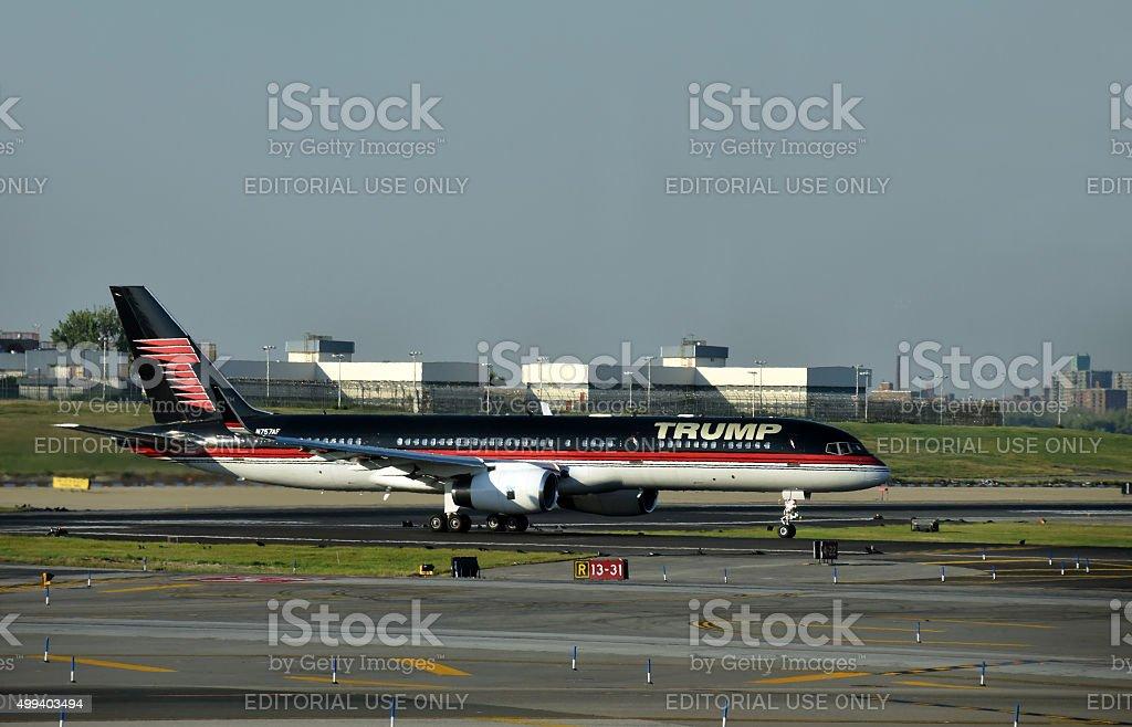 Jet airplane with Trump's logo stock photo
