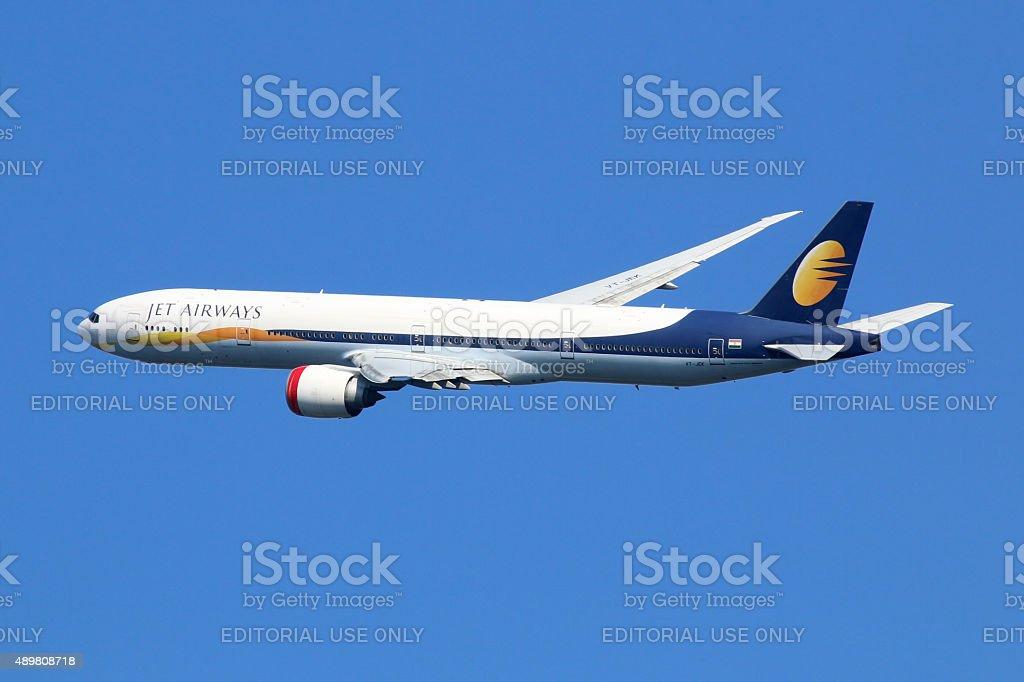 Jet Airways Boeing 777-300 airplane stock photo