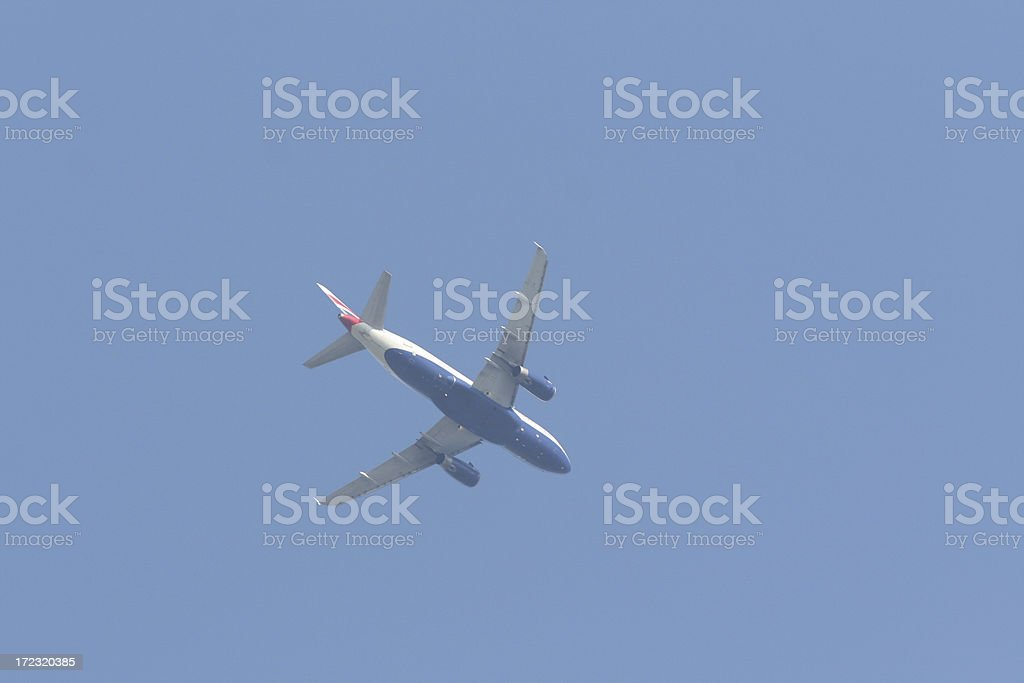 Jet approaching airport stock photo