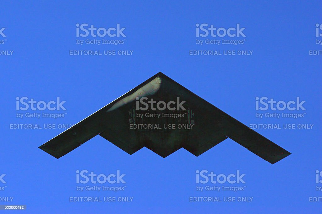 Jet B-2 Stealth Bomber flying over 2016 Parade stock photo
