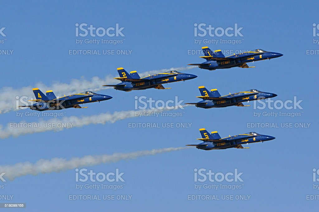 Jet Blue Angels F-18 Hornet fighters stock photo