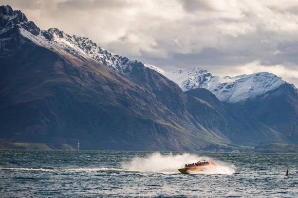 Jet Boat in Lake Wakatipu stock photo