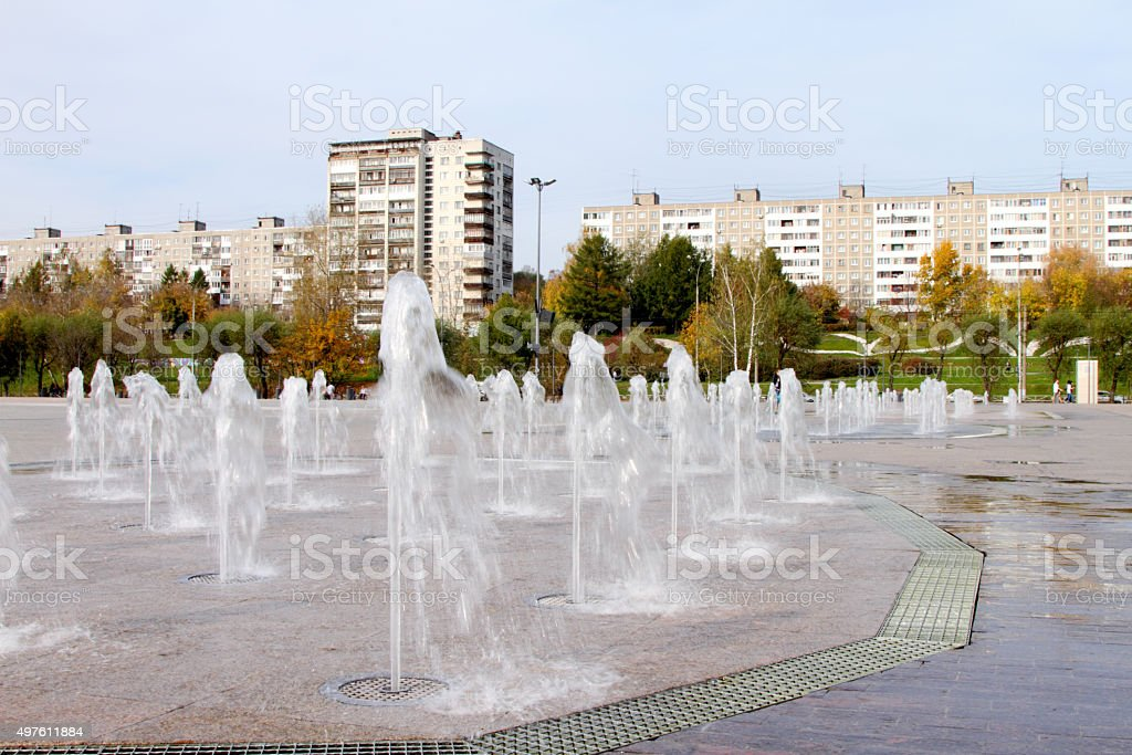 Jet city fountain. stock photo