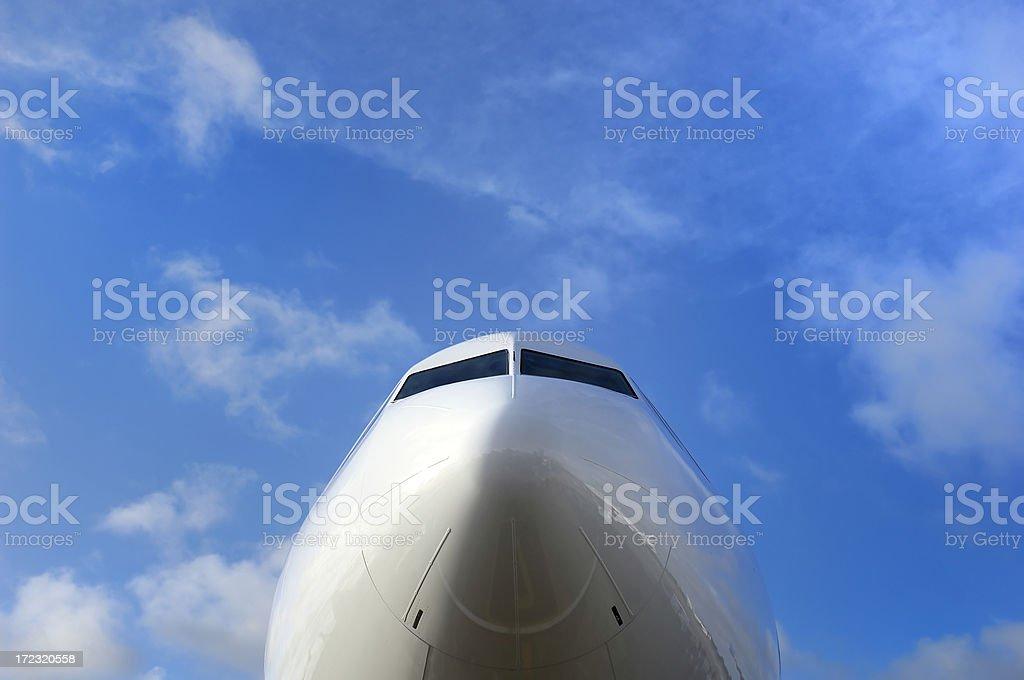 jet cockpit with sky stock photo
