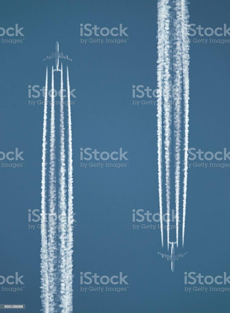 Jet Contrails stock photo