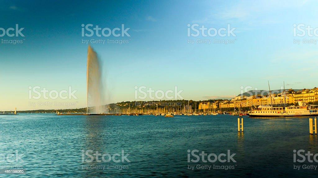Jet D'eau and Rive gauche waterfront Geneva, Switzerland stock photo