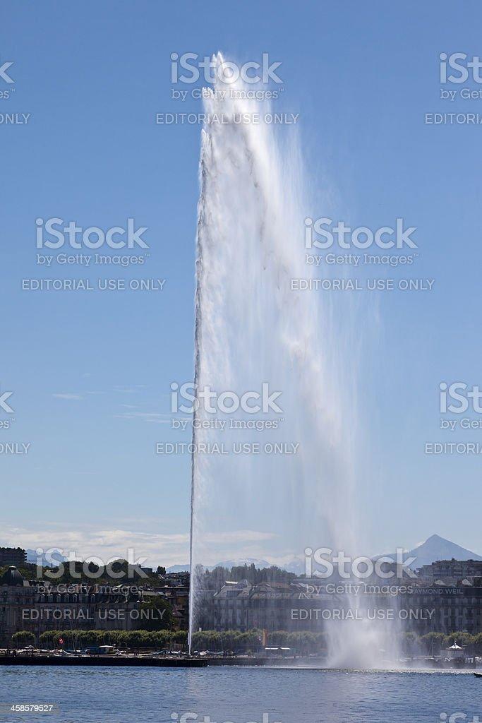 'Jet d'eau' fountain, landmark in Geneva Switzerland stock photo