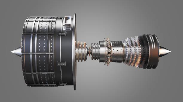 jet engine 3d rendering - silnik odrzutowy zdjęcia i obrazy z banku zdjęć