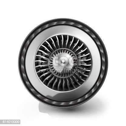 istock Jet engine back view isolated on white background. 3d rendering 614013000