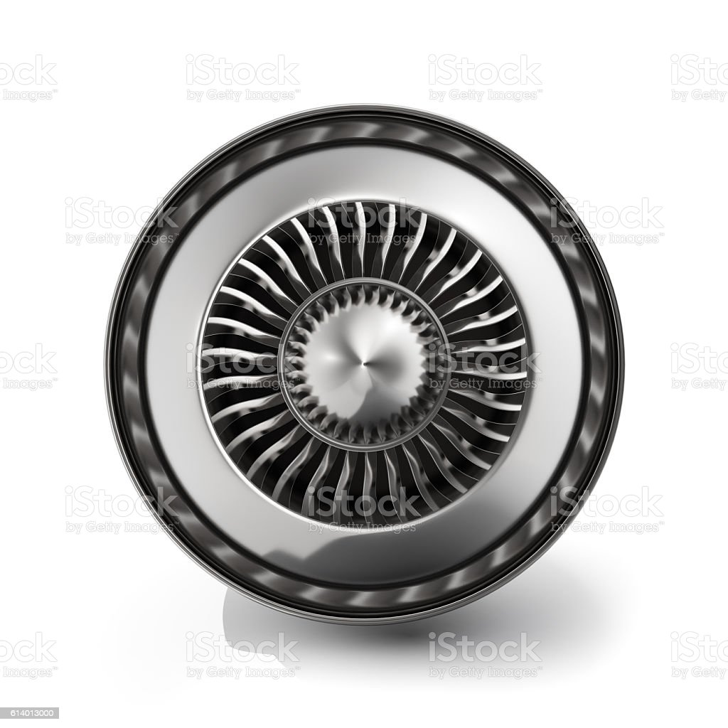 Jet engine back view isolated on white background. 3d rendering stock photo