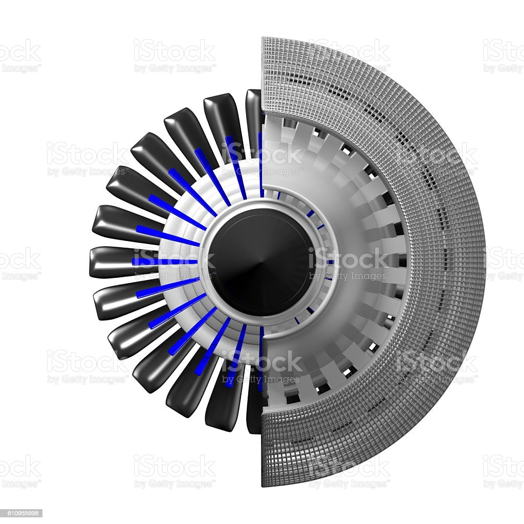 3D jet engine - back view stock photo